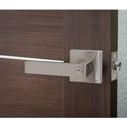8 Pack Privacy Door Hardware Door Lever Room Without Key Square Rose Satin Nickel
