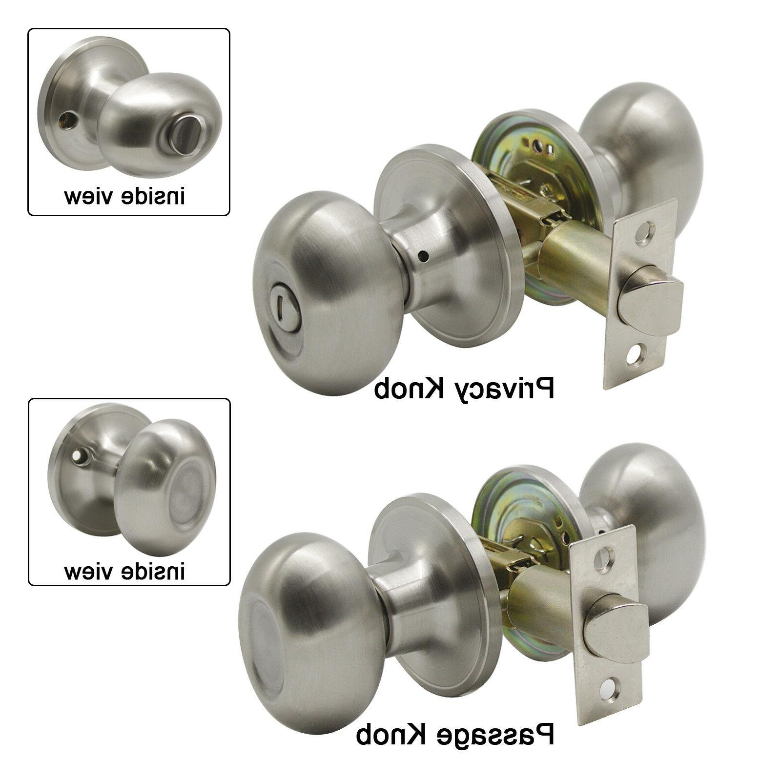 satin nickel door knob oval egg privacy