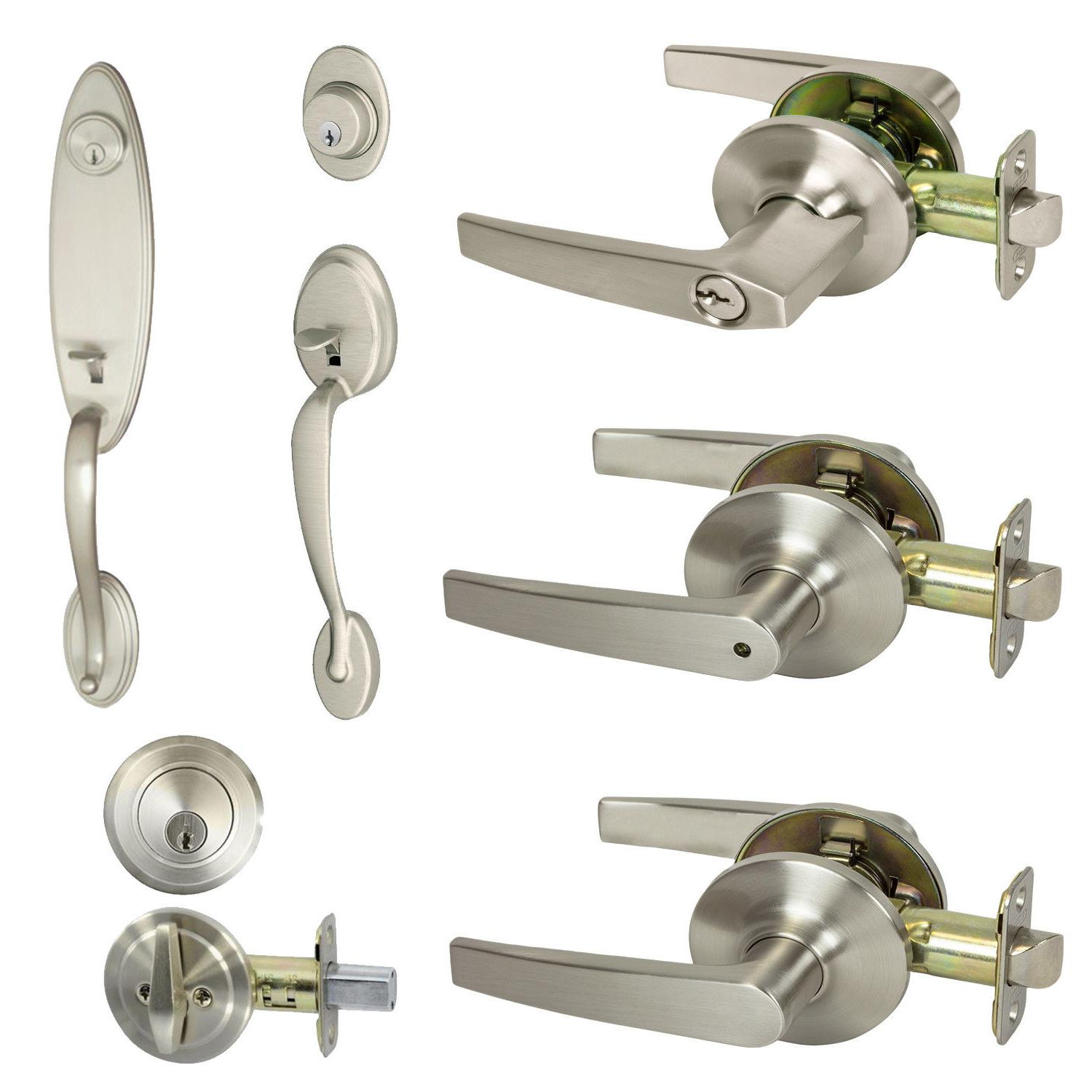 Satin Nickel Door Lever Lock Entry Knob Privacy Bedroom Clos