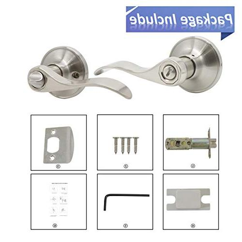 Knobonly Nickel Finish Door Privacy Handles Keyless For or 10