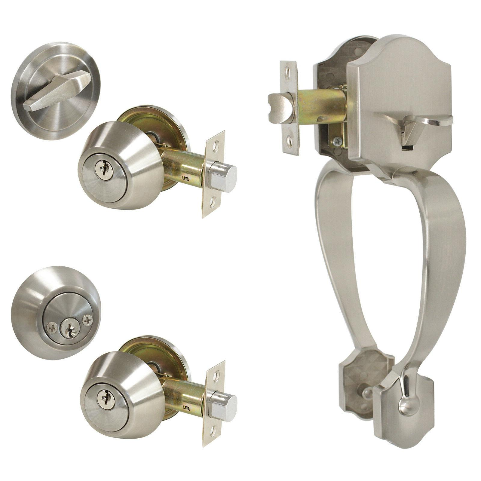 satin nickel front door handle set keyed