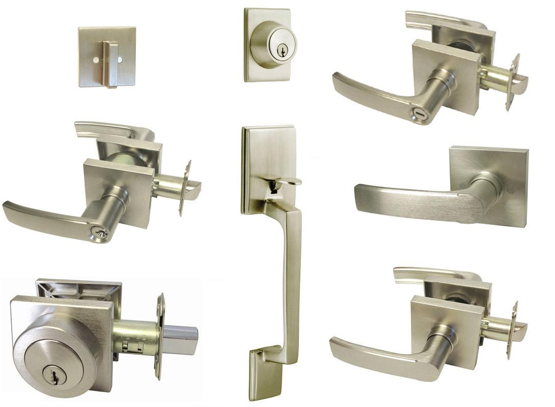 Satin Nickel Square door lever  entrance privacy passage dum