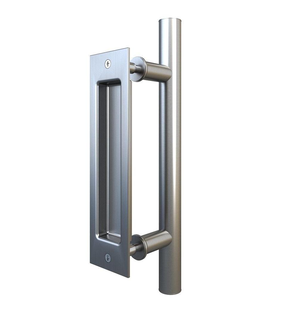 Stainless Steel Pull and Flush Handle Set for Sliding Barn D