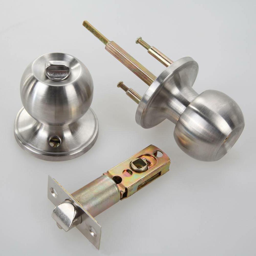 Stainless Round Door Knobs Handle Entrance Lock Set SILVER*