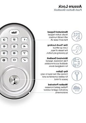 Yale Yale Living YRD216ZW2619 Push Button Deadbolt with Z-Wave Nickel Finish