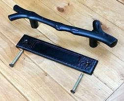 Large Tree Branch Barn Door Handle and Matching Flush Pull S