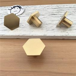 LCH Nordic Style Hexagon Solid Brass Cabinet Knob Cupboard <
