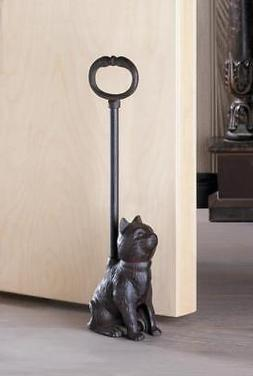 LONG HANDLE rustic CAT kitten CAST IRON metal country statue