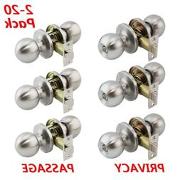 LOT Brushed Nickel Door Knobs Entry Handles Locks Privacy/Pa