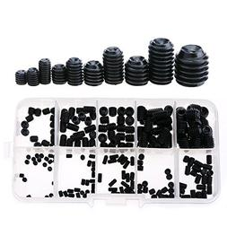 Glarks 260-Piece M3 4 5 6 8 Hex Allen Head Socket Set Screw