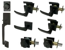 Matte Black Square Plate door locks Knobs handle lever entry