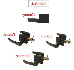Oil Rubbed Bronze Door Handle Lever Square Base Knobs Privac