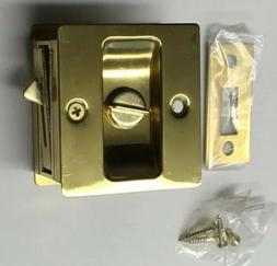 Polished Brass Pocket Sliding Door Privacy Handle Lock Pull