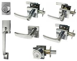 Polished Chrome Square Plate door handle lever entry privacy