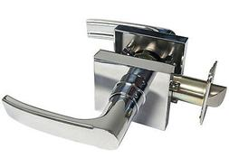 Polished Chrome Square Plate Passage Lever Handle Door Hallw
