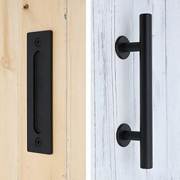 "SMARTSTANDARD Heavy Duty 12"" Pull and Flush Barn Door Handle"