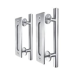 "SMARTSTANDARD 12"" Pull and Flush Door Handle Set Stainless S"