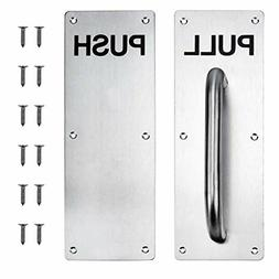 Restaurant Door Handle PULL And PUSH Set Stainless Steel Pla