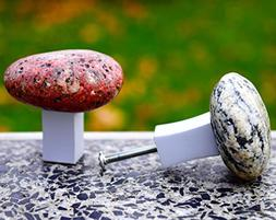5 Pcs Rock knobs and pulls. Beach Stone Kitchen Cabinet hand