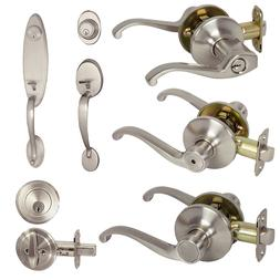 Satin Nickel Door Lever Knob Lock Hardware Handleset Entry B