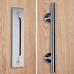 Stainless Barn Door Pull Handle Set| Stainless 12 inch Round