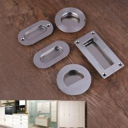Stainless steel door handle flush recessed pull circular ova
