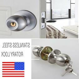 Stainless Steel Rotation Round Door Knobs Handle Entrance Pa