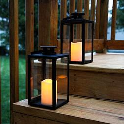 Outdoor Flameless Black Candle Lanterns, Glass Paneled, 11""