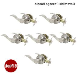 Wave Style Door Handle Satin Nickel Passage Levers Hall Clos